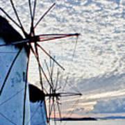 Wind Mills Of Mykonos Art Print