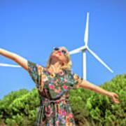 Wind Turbines Woman Art Print