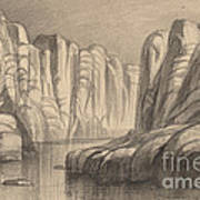 Winding River Through A Rock Formation (philae, Egypt) Art Print