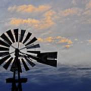 Windmill And Cloud Bank At Sunset Art Print