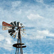 Windmill And Clouds Art Print
