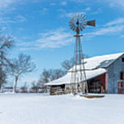 Windmill And Old Barn In Fresh Snow Art Print