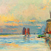 Windmill At A Channel In Rotterdam Art Print