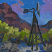 Windmill At Keys Ranch Joshua Tree Art Print