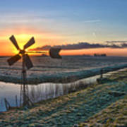 Windmill At Sunrise Art Print