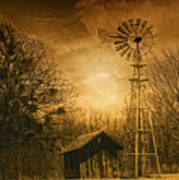 Windmill At Sunset Art Print