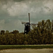 Windmill On The Rhine Art Print