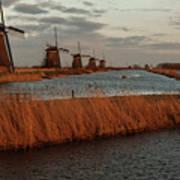 Windmills In The Evening Sun Art Print