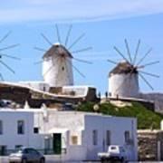 Windmills Mykonos Art Print