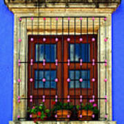 Window In Blue With Baubles Art Print