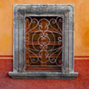 Window On Orange Wall San Miguel De Allende Art Print