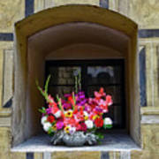 Window Sill Flower Arrangement At Cesky Krumlov Castle In The Czech Republic Art Print