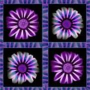 Windowpanes Brimming With  Moonburst Stripes Of Flowers - Scene 6 Art Print