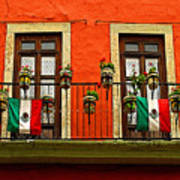 Windows With Flags Art Print