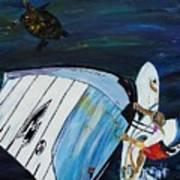 Windsurfing And Sea Turtle Art Print
