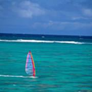Windsurfing In Clear Ocea Print by Allan Seiden - Printscapes