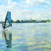 Windsurfing In The Bay Art Print