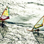 Windsurfing Silver Waters Art Print