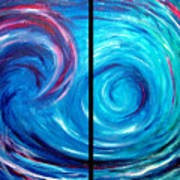 Windswept Blue Wave And Whirlpool 2 Art Print