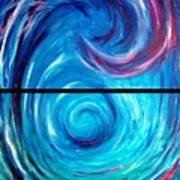 Windwept Blue Wave And Whirlpool Diptych 1 Art Print