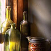 Wine - Three Bottles Art Print by Mike Savad