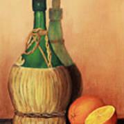 Wine And Oranges Art Print