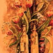 Wine And Tulips Art Print