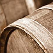 Wine Barrel In Cellar Art Print