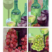 Wine From Grapes Collage Art Print