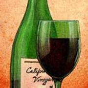 Wine Glass With Bottle Art Print