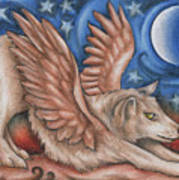 Winged Wolf In Downward Dog Yoga Pose Art Print