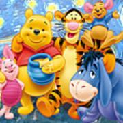 Winnie the Pooh Starry Night  Art Print