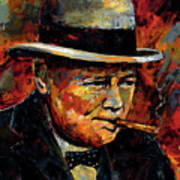 Winston Churchill Portrait Art Print