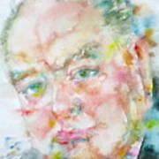Winston Churchill - Watercolor Portrait.4 Art Print