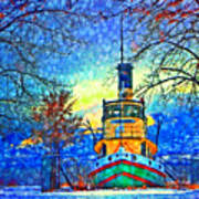 Winter And The Tug Boat 2 Art Print
