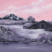 Winter Barns Art Print by Cynthia Adams