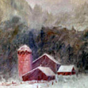 Winter Barns Art Print