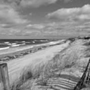 Winter Beach View - Black And White Art Print