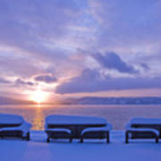 Winter Benches Art Print