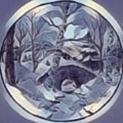 Winter Bridge In Blue Art Print