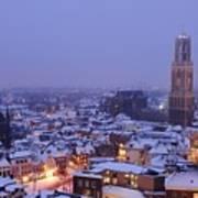 Winter Cityscape Of Utrecht In The Evening 14 Art Print