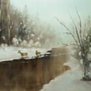 Winter Deer Run Art Print