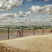 Winter Fences In Grand Haven 2.0 Art Print