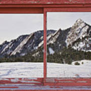 Winter Flatirons Boulder Colorado Red Barn Picture Window Frame  Art Print