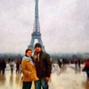 Winter Honeymoon In Paris Art Print