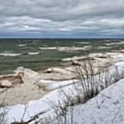 Winter Ice On Lake Michigan Ll Art Print