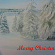 Winter In Gyllbergen Merry Christmas Red Text Art Print