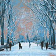Winter In The City Park Art Print