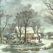 Winter In The Country - The Old Grist Mill Print by Currier and Ives