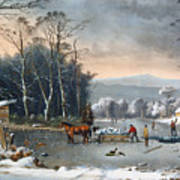 Winter In The Country Art Print by Currier and Ives